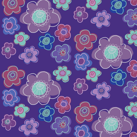 Flower Doodles fabric by woodledoo on Spoonflower - custom fabric