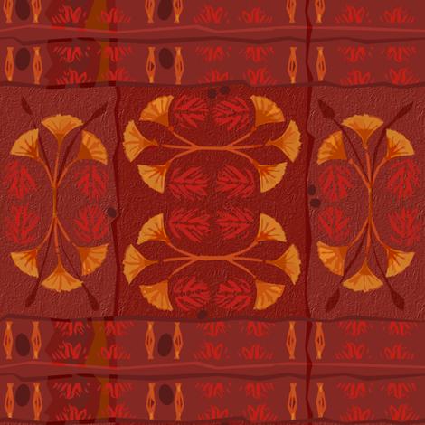 Lotus Red Tiki Plaid  fabric by wren_leyland on Spoonflower - custom fabric