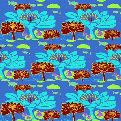 Repeat Blue Lily Pond fabric by bad_penny on Spoonflower - custom fabric