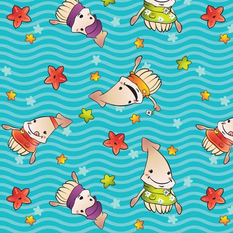 Squid Kids fabric by fuzzyskyfabric on Spoonflower - custom fabric