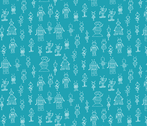 Little Robots Blueprint fabric by rebekah_sellers on Spoonflower - custom fabric