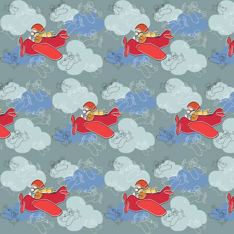 The Little Red Plane fabric by woodledoo on Spoonflower - custom fabric