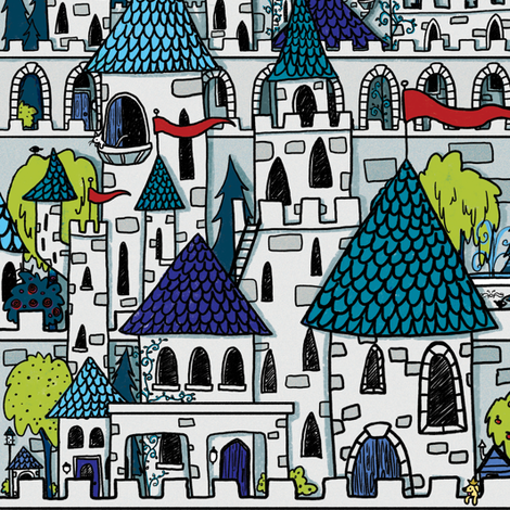 Castle and Kingdom fabric by celestegs on Spoonflower - custom fabric