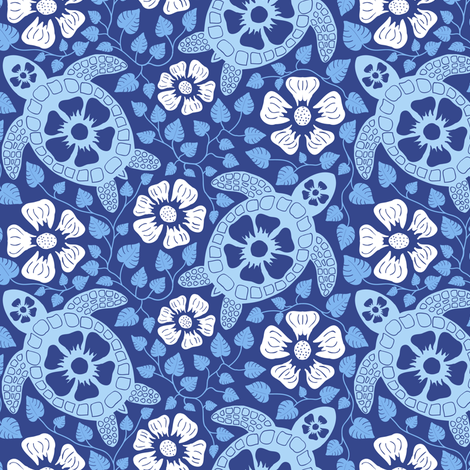 Hawaiian Turtles and Hibiscus (Blues, Medium size) fabric by coloroncloth on Spoonflower - custom fabric