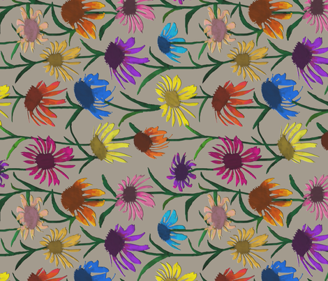 Echinaceas - Railroaded fabric by coloroncloth on Spoonflower - custom fabric