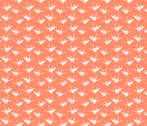 Folded Friends: Coral fabric by nadiahassan on Spoonflower - custom fabric