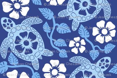 Hawaiian Turtles and Hibiscus (Blues)
