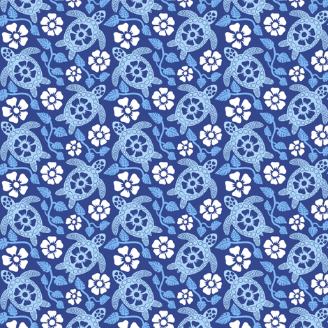 Hawaiian Turtles and Hibiscus (Blues) fabric by coloroncloth on Spoonflower - custom fabric