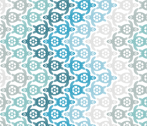 Turtles on the Beach (White background) fabric by coloroncloth on Spoonflower - custom fabric