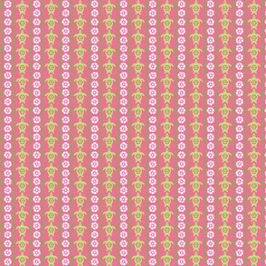 Pink and Green Turtle Stripes - Small Scale