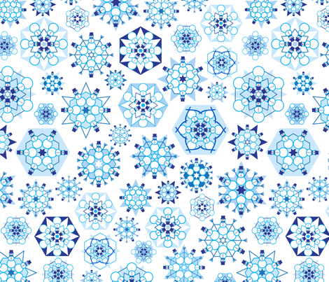 Frosty Flakes (please Zoom  to see Snowmen) fabric by coloroncloth on Spoonflower - custom fabric