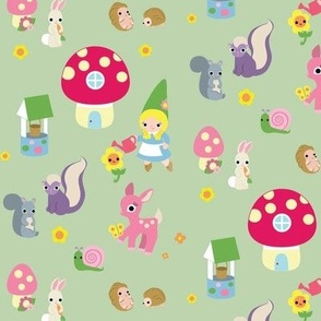 Gnome Girl with Forest Animals