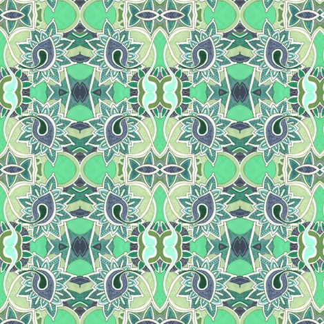 Stained glass garden in mint fabric by edsel2084 on Spoonflower - custom fabric