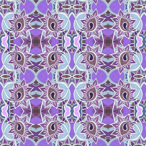 Stained glass garden in violet fabric by edsel2084 on Spoonflower - custom fabric
