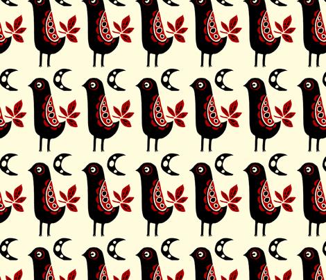 Folk Bird fabric by corinnevail on Spoonflower - custom fabric