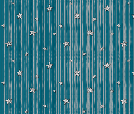 Paper Stars Teal fabric by celestegs on Spoonflower - custom fabric