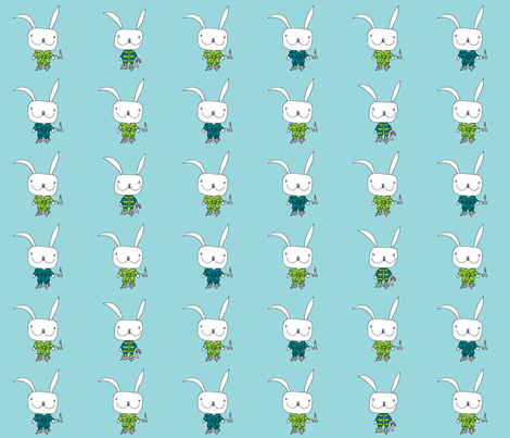 bedtime for little rabbit_lblue fabric by voici_eline on Spoonflower - custom fabric