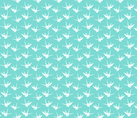 Folded Friends: Aqua fabric by nadiahassan on Spoonflower - custom fabric