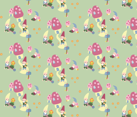 Garden Gnomes  fabric by fantastictoys on Spoonflower - custom fabric