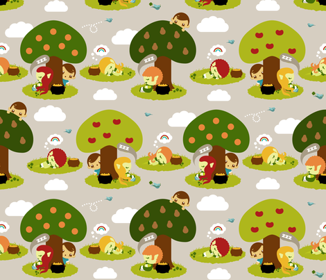 Leprechauns Get Bored Too (Click to Zoom) fabric by greencouchstudio on Spoonflower - custom fabric