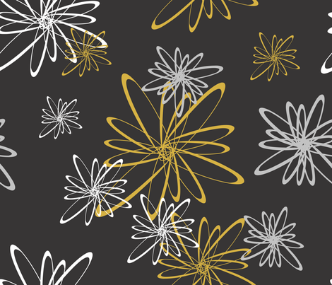 Flower_Orbits__MetallicOnBlack_ fabric by illustrative_images on Spoonflower - custom fabric