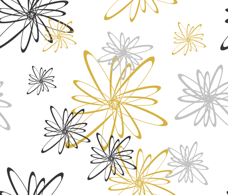 Flower_Orbits__MetallicOnWhite_ fabric by illustrative_images on Spoonflower - custom fabric