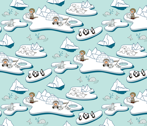 Go with the Floe (Please zoom for detail) fabric by jmckinniss on Spoonflower - custom fabric