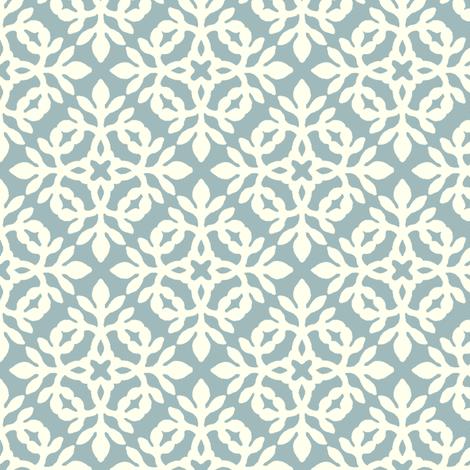 SOFT-AQUA_&_cream_mini-papercut fabric by mina on Spoonflower - custom fabric