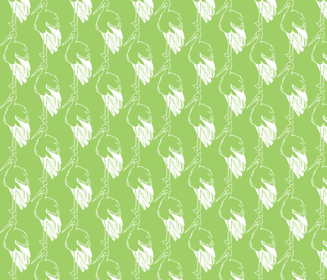 Green Stork fabric by littlebeardog on Spoonflower - custom fabric