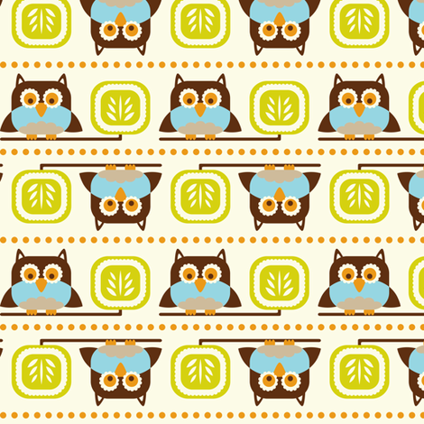 Owl Town - Whimsical Birds Cream fabric by heatherdutton on Spoonflower - custom fabric