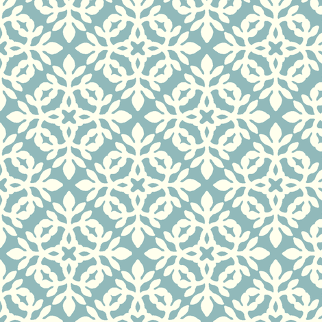 AQUA_&_cream_mini-papercut fabric by mina on Spoonflower - custom fabric