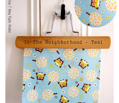 In The Neighborhood - Owls & Trees Aqua Blue