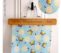 In The Neighborhood - Owls & Trees Aqua Blue