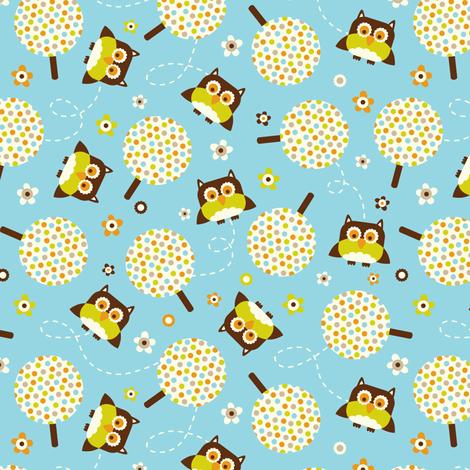 In The Neighborhood - Owls & Trees Aqua Blue fabric by heatherdutton on Spoonflower - custom fabric
