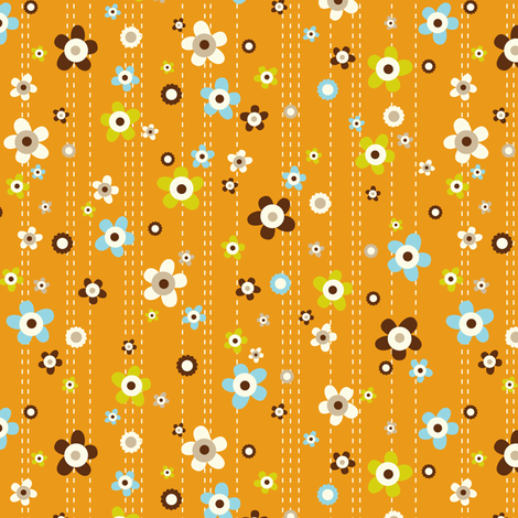 Flower Shower - Floral Orange fabric by heatherdutton on Spoonflower - custom fabric