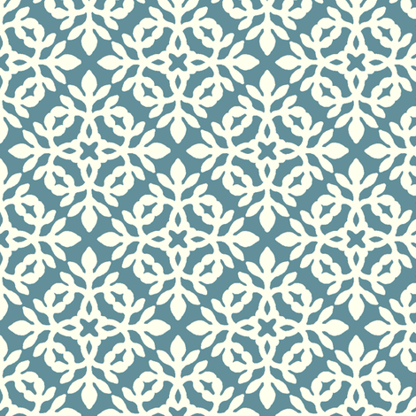 MARINE-BLUE_&_cream_mini-papercut fabric by mina on Spoonflower - custom fabric