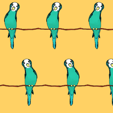 Parakeets on Gold fabric by pond_ripple on Spoonflower - custom fabric