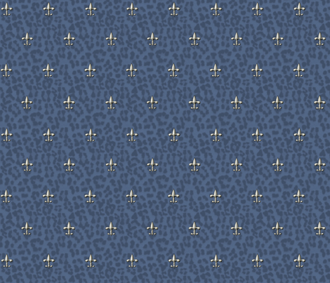 ©2011 royal leopard and fleur de lis - blue, silver fabric by glimmericks on Spoonflower - custom fabric
