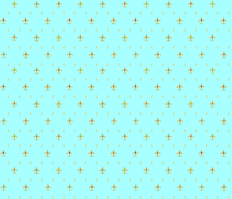 ©2011 fleur de lis - gold jewels on aqua fabric by glimmericks on Spoonflower - custom fabric