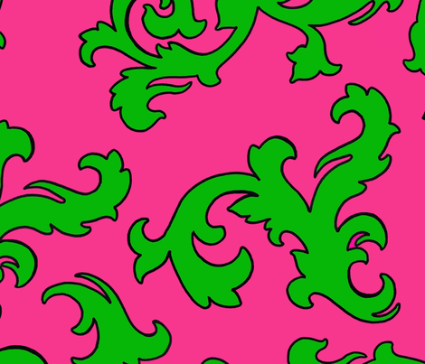 Padrona_pink_green_damask fabric by mtl_design on Spoonflower - custom fabric