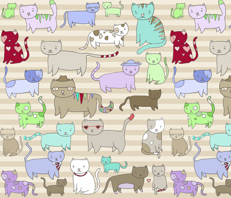 Kittens Stripey fabric by pocketcarnival on Spoonflower - custom fabric