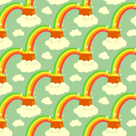 retro: At the end of the rainbow you will find... fabric by irrimiri on Spoonflower - custom fabric