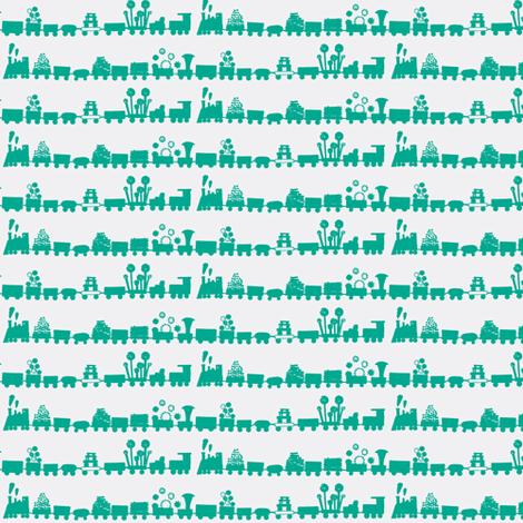 Green Trains fabric by boris_thumbkin on Spoonflower - custom fabric