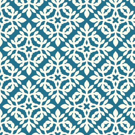 PEACOCK & cream mini-papercut2 fabric by mina on Spoonflower - custom fabric