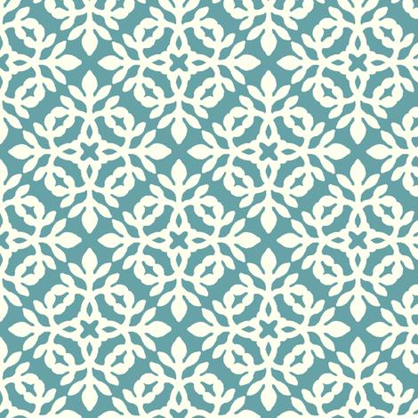 RICH TURQUOISE & CREAM mini-papercut2 fabric by mina on Spoonflower - custom fabric