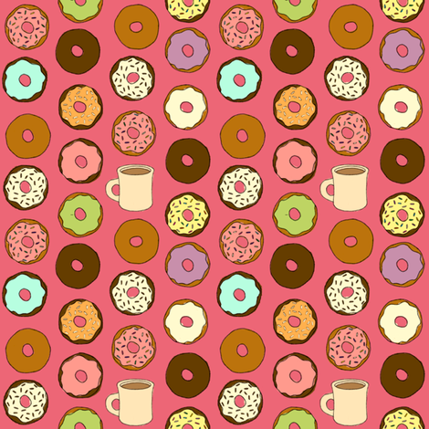 Donuts and Coffee fabric by jaydesign on Spoonflower - custom fabric