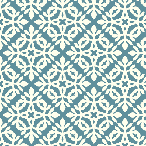 TEAL & cream mini-papercut2 fabric by mina on Spoonflower - custom fabric