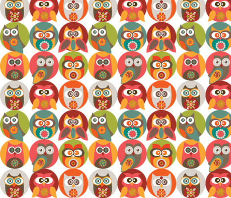 Owl family fabric by valentinaharper on Spoonflower - custom fabric