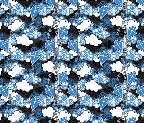 ©2011 go fly a kite bleu fabric by glimmericks on Spoonflower - custom fabric