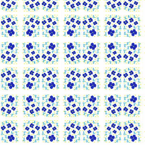 Flora Flower Blue fabric by angelsgreen on Spoonflower - custom fabric